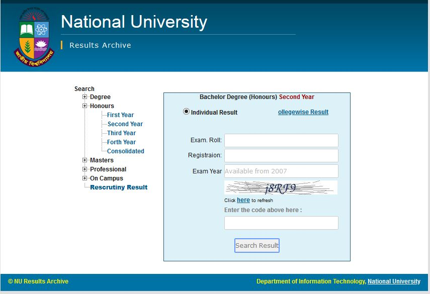 NU Honours 2nd Year Result 2020